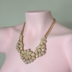 Statement necklace gold cream floral crystal jewel